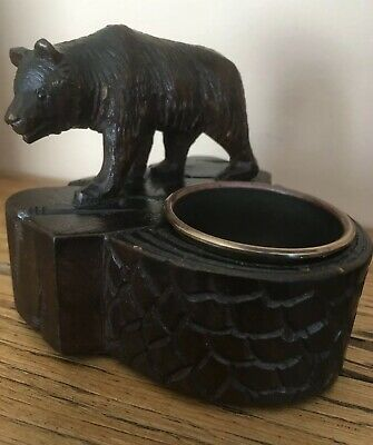 Antique Carved Black Forest Wooden Bear Match Holder 19th Century