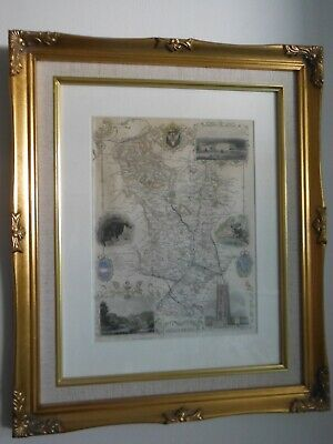 Framed colour print map of Debyshire by Thomas Moule c1848
