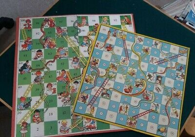 TWO Vintage Board Games - NO COUNTERS OR DICE (Snakes & Ladders/Ludo)
