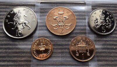 1976 PROOF part set of 5 small coins half penny 1p 2p 5p 10p Royal Mint pence