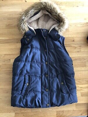 Fat Face Girls Navy Blue Gillet With Faux Fur Trimmed Hood Age 10/11 Yrs Genuine
