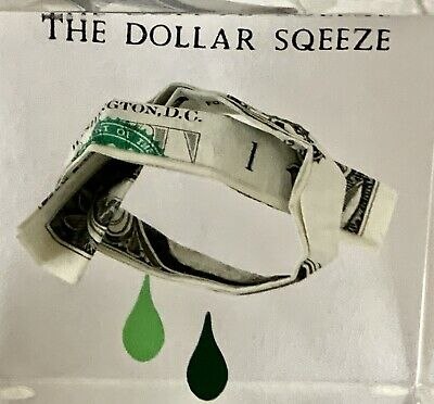 The DOLLAR SQEEZE SQUEEZE Acrylic Lucite Display Cube Paperweight Money Bill VTG