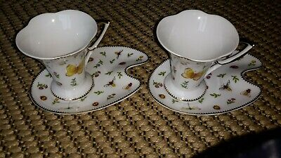 2 ×Gna Fine China Cups And Saucers.bees And Butterfly Dragonfly Design.delicate