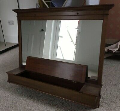 Original Antique Edwardian Mahogany Hall Mirror with glove storage compartment