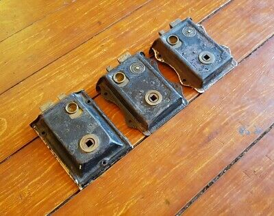 3 Old Reclaimed Brass And Iron Rim Locks With Sliding Thumb Latch