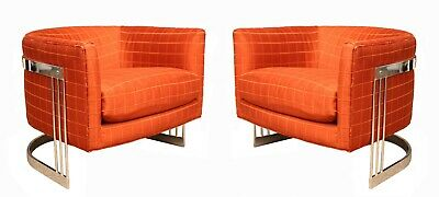 Mid Century Modern Flair Pair of Chrome Wrapped Lounge Chairs 1980s Baughman Era