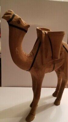 VINTAGE HAND CARVED WOODEN CAMEL STANDING FIGURE 9.5 inches