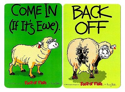 2 Novelty Bookmarks - Sheep -  Back Off - Double Sided