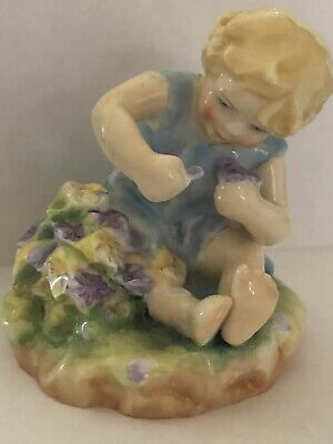 Royal Worcester Figurine Mischief 2914 F G Doughty Pansies