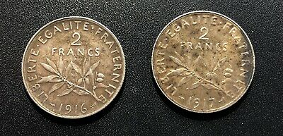 France 1916 and 1917 Silver 2 Franc Coins
