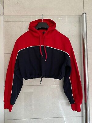 Girls H&M Cropped Red, Blue and White Hoodie XS- Used