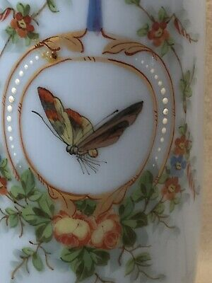 """Handpainted French Victorian Blue Opaline Glass Vase Butterfly Moth 10"""""""
