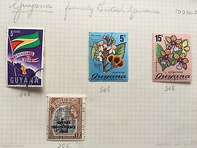 4 franked Guyana stamps - good condition.