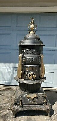 Vintage Antique Round Oak Wood Stove w Finial Dowagiac~PB Beckwith