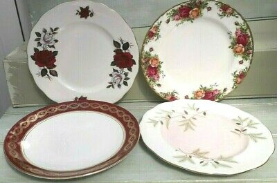 Beautiful Vintage Mismatched Floral Bone China TeaSide/salad Plates x4 x 8nch/10