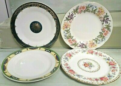 Beautiful Vintage Mismatched Floral Bone China Tea Side/salad Plates x4 x 8nch/9