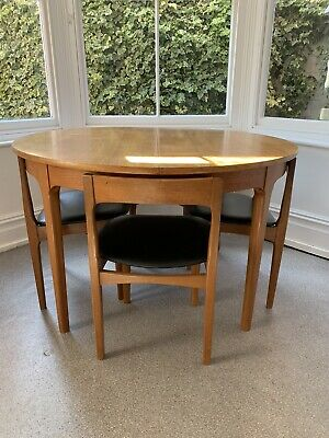 NATHAN VINTAGE RETRO TEAK EXTENDING DINING TABLE AND 4 CHAIRS 1960s