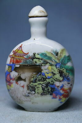 Ancient Porcelain Painting Sima Guang Smashed Cylinder Auspicious Snuff Bottles