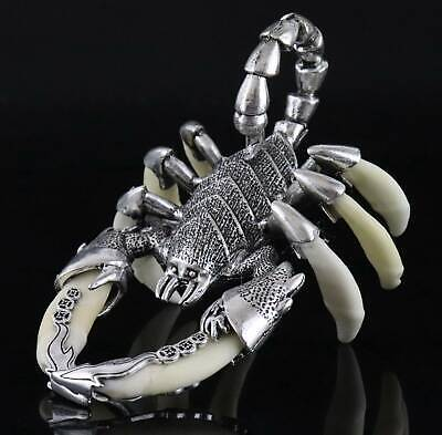 Decoration Miao Silver Inlay Wolf Tooth Carved Vicious Scorpion Lucky Statue