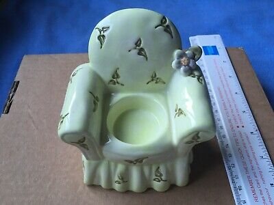 Vintage Green Couch Sofa Seat Ceramic Candle Tea Light Holder Stand Decor