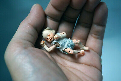 Dollhouse baby boy ball jointed doll posable infant one twelfth scale tiny bjd
