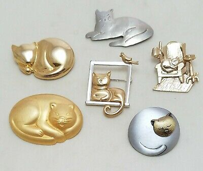 LOT Sleeping Cat Kitty Pins Brooches JJ Liz Claiborne Silver & Gold Tone Pewter