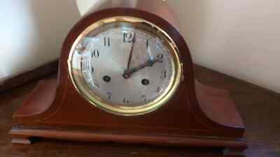 Large modern classic Antique Wood Cased Brass Mechanical Mantel Clock  Napoleon