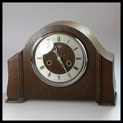 SMITHS ENFIELD England Wooden Brass Mantel Shelf Mechanical Wind up Clock Chimes