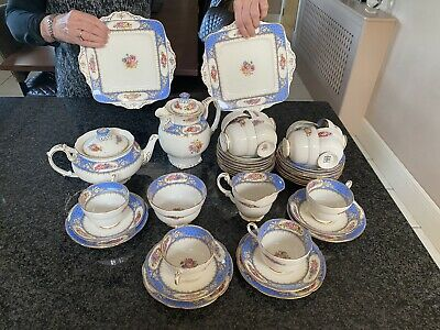 Vintage antique Paragon blue 42 x Piece Fine Bone China Afternoon Tea Service