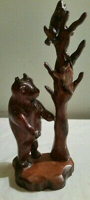 Lovely Wooden Black Forest Carving Model Of A Mother Bear And Her Two Cubs