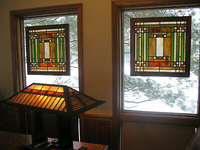 Pair Of Prairie/ Craftsman Style Stained Glass Windows
