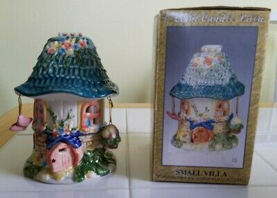 Small Villa Tea Light Holder  with hanging Flower Basket and Butterfly