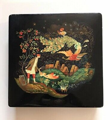 Vintage Russian Hand Painted Lacquer Box Man And Phoenix