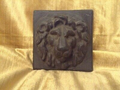 Antique Lead Lion Head Masque Plaque Stately Home Mansion House Church Hopper