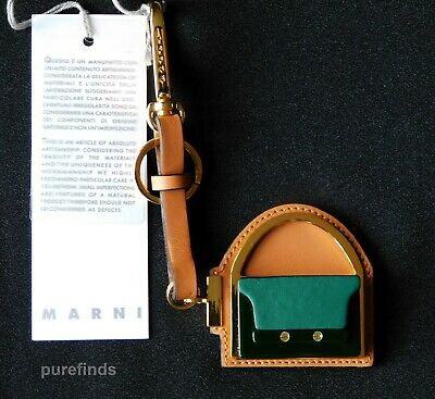 Marni Trunk Keyring Leather  Gold Plated Brass And Horn, Rrp £315 Nwt Marni Box