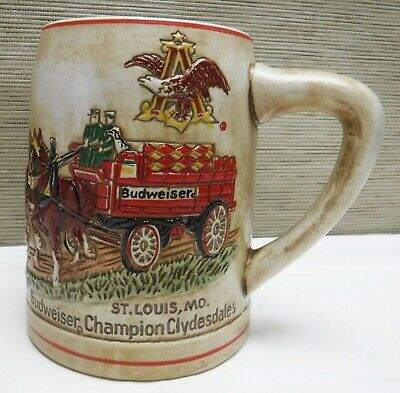 Budweiser Ceramarte Holiday Stein 1980 Cs19