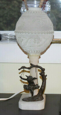 Bronze and Alabaster lamp  -Cherub on swing