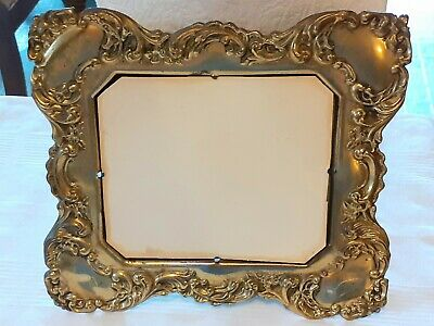 Vtg Antique small Brass Repousse Picture Frame made in England
