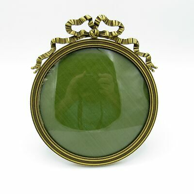 Antique Beautiful Round Bronze Picture Frame w/ Bow, Original Convex Glass, NR
