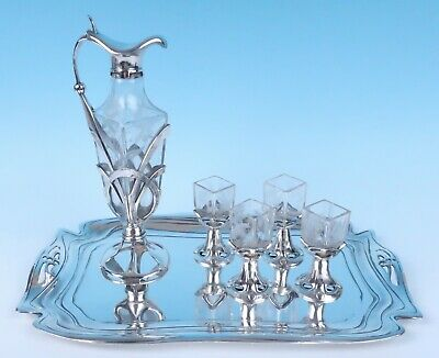 Austrian Jugendstil Silverplate Engraved Moser Glass Decanter Set Argentor Werke