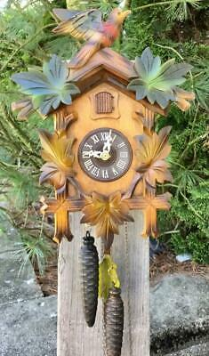 German Black Forest Cuckoo Clock Running Well Bright Vibrant Colors