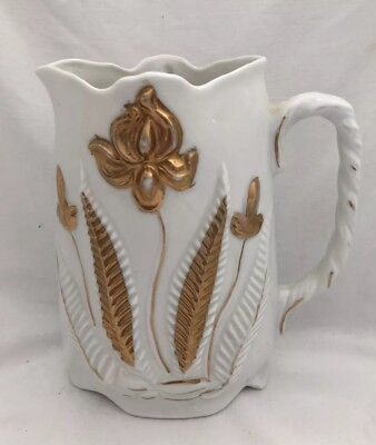 Vintage Antique White Porcelain With Gold Flowers PITCHER Jug