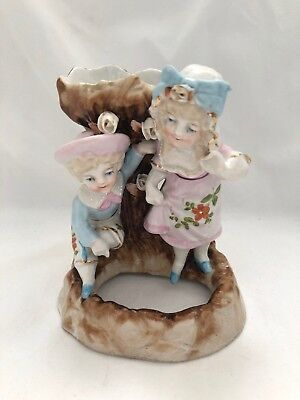 Antique Porcelain  BUD VASE With Figurines BOY & GIRL