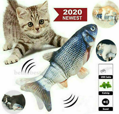 2020 Moving Catnip Fish Toys for Cats, Realistic Plush Electric Wagging Funny US