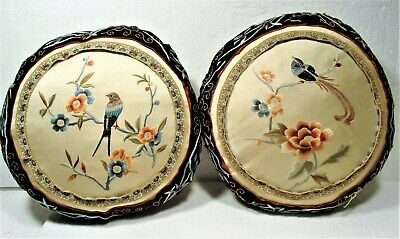 2 Circa 1930'S-40'S Chinese Hand Embroidered Round Pillows, Birds Flowers, Nice