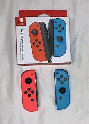 Nintendo Switch Joy Con Controller Neon Blue Red Left + Right with EXTRAS