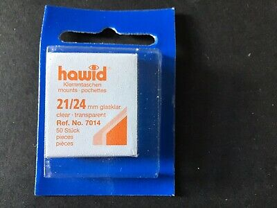 Hawid Cut To Size Stamp Mounts Clear. Size 21 X 24mm 50 Pieces New