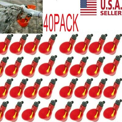 40pcs Poultry Water Drinking Cups- Chicken Hen Plastic Automatic Drinker NEW