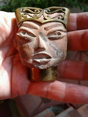 Antique Pre-Columbian Fragment Face VANCARROW MEXICO 2-1/2 inches PIN BROOCH ART