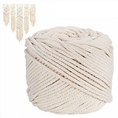 5/6mm Macrame Rope 100% Natural Beige Cotton Twisted Cord Artisan DIY Craft